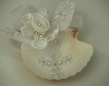 Baptism Shell for Ceremony White or Ivory handmade, Christening,Blessing, Concha Para Bautizo, Fabric Flowers,Lace Cross,Pearls,Rhinestones