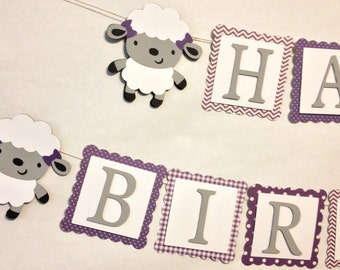 Little Lamb Themed Happy Birthday Banner, Party Decorations, Birthday Party, Ewe, Sheep