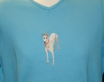 1LS White Greyhound Embroidered Greyhound Long Sleeve Tee Shirt.
