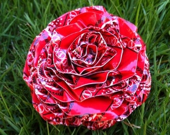Red Bandana Duct Tape Hair Flower Broach Rose