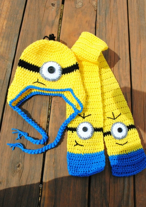Crochet minion hat and scarf set by NLovingHandZ on Etsy