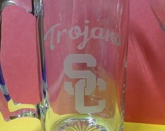 SC Trojans mug, College team mugs, etched beer mug, etched glasses, sports team mugs, Etched beer mugs, Customized beer mugs, Man Cave