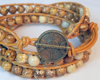 Picture Jasper Leather Wrap Bracelet