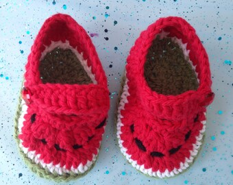 Watermelon Baby Booties - Watermelon Baby Shoes - - Baby Gift - Newborn Gift - You choose the size