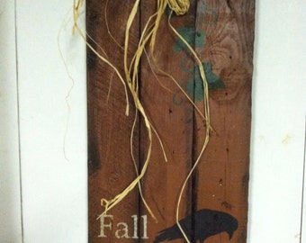 Primitive fall sign: fall Blessings pumpkin with crow