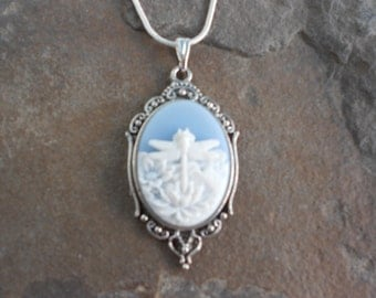 """SALE - Stunning Ivory Dragonfly (on a sky blue background) Cameo Pendant Necklace---.925 plated 22"""" Chain--- Great Quality"""