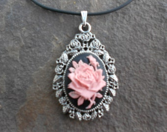 Stunning Pink Rose on Black Cameo Pendant Necklace--- Great Quality--- Unique Piece