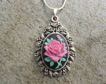 "Stunning Purple/Magenta/Pink Rose Cameo Pendant Necklace---.925 plated 22"" Chain--- Great Quality"