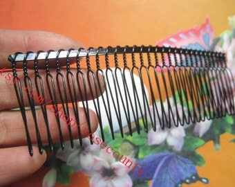 Wholesale 50pcs 115x35mm (30 teeth) black  hair teeth comb/head teeth comb metal findings