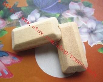Wholesale 20pcs 40x20mm original rectangularshape wood beads findings--unfinished--hole 4.5mm