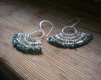 Raw diamond earrings // raw diamond jewelry // raw diamond and silver earrings