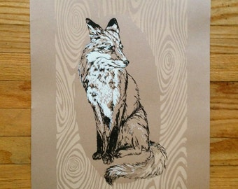 Fox (on tan colored paper) - limited edition hand-printed screen print