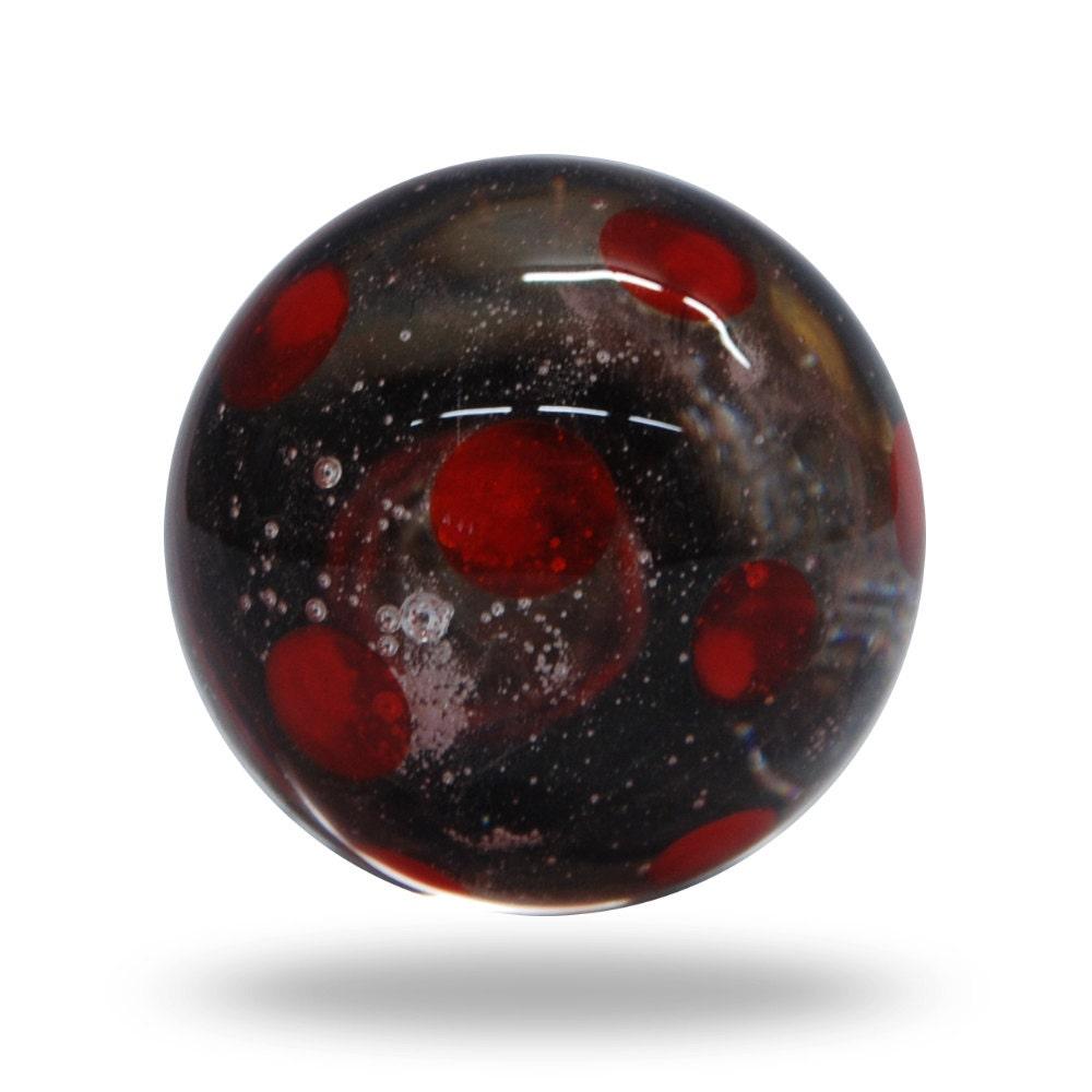 Globe clear and red polka dot glass door knob decorative for Glass bureau knobs