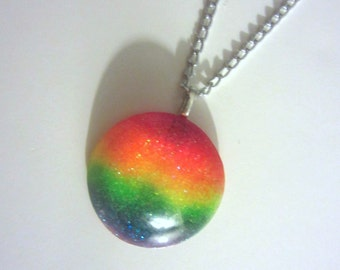 Glittery Neon Rainbow Resin Pendant Necklace