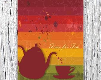 Time for Tea Print, Typography Illustration, Kitchen Wall Decor, Kitchen Art, Kitchen Wall Art, Kitchen Poster, Wall Art Kitchen