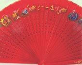 Vintage Victorian red wood fan for vintage wedding party decor /dancing hand fan/table setting /wall decoration/ - CaSales