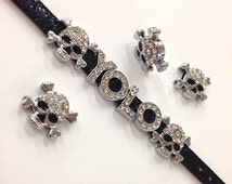 Set of 10 pc silver rhinestone skull  slide charm fits 8mm wristband for jewelry /crafting