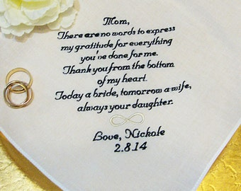 Personalized Mother of the Bride Handkerchief, No Words Can Express My Gratitude - With FREE Gift Box from Thread Born Memories