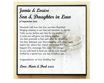 Wedding Gifts For Daughter And Son In Law : Wedding Gifts For Daughter In Law Wedding Poem Gift