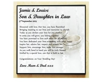 Unique Wedding Gifts For Son And Daughter In Law : Wedding Gifts For Daughter In Law Wedding Poem Gift