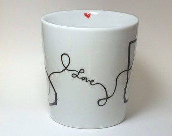 State Love Mug - Long Distance Relationships, Friendships, Family