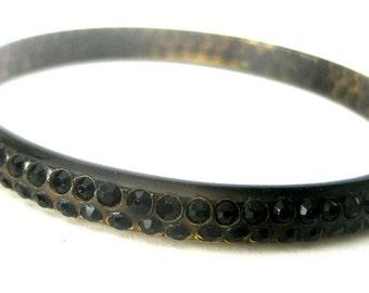 Vintage Celluloid & Black Paste Bangle Bracelet