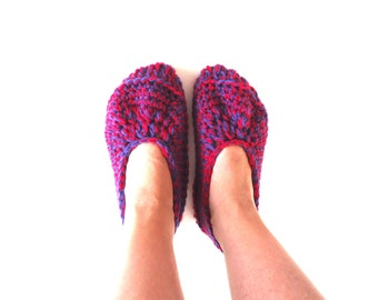 Purple and pink women's slippers, adult crochet slippers, house shoes, valentine's day gift, ready to ship