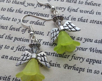 Christmas Earrings, Angel Earrings Guardian Angel Dangle Earrings in Light Yellow, Dangle Earrings.