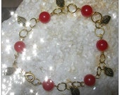 Beautiful Gold Bracelet with Red Jade & Leaves