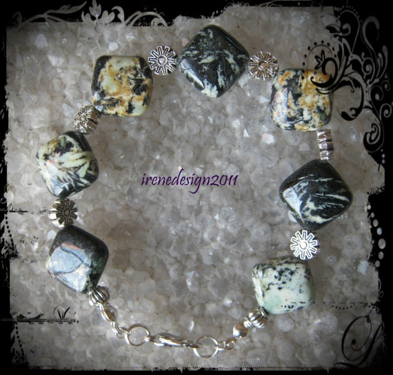 Handmade Silver Bracelet with Square Agate & Flowers by IreneDesign2011