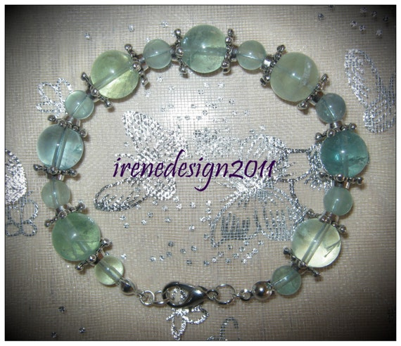 Handmade Silver Bracelet with Green Fluorite by IreneDesign2011