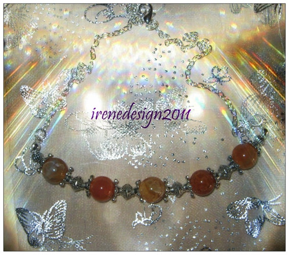 Handmade Silver Necklace with Dream Dragon Fire Vein Agate by IreneDesign2011
