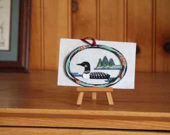 Loon Ornament - Metal -Handpainted -Folkart- Ready to go gift