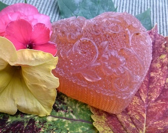 Rose Geranium Bergamot Heart Soap -Vegan -