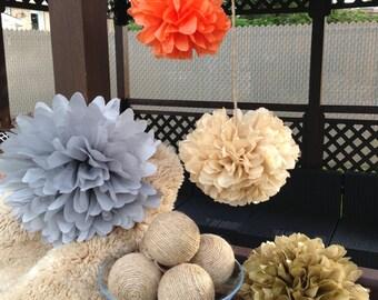 set of 18 tissue paper pom poms,party poms-wedding poms,party decor,birthday decorations,hanging pom poms,paper poms,nursery pom pom