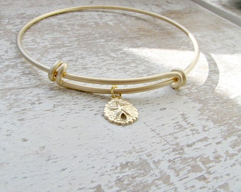 14k gold filled Sand Dollar Bangle sand dollar jewelry gold Bangle Bridesmaid Bangles Beach Wedding Wedding jewelry Sand dollar Jewelry gift