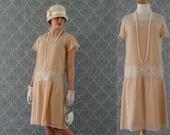 Dark beige high tea flapper dress with flutter sleeves, Downton Abbey dress, 1920s flapper dress, Great Gatsby dress, robe Charleston
