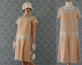 Dark beige high tea flapper dress with short ruffled sleeves, Downton Abbey dress, 1920s flapper dress, Great Gatsby dress, robe Charleston