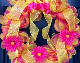 Pink Lemonade Mesh Wreath