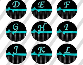 INSTANT DOWNLOAD Alphabet Aqua 4x6 Bottle Cap Images Digital Collage Sheet for bottlecaps
