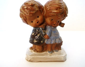 Mann Pottery Boy And Girl Figurine Made In Japan. 1970's