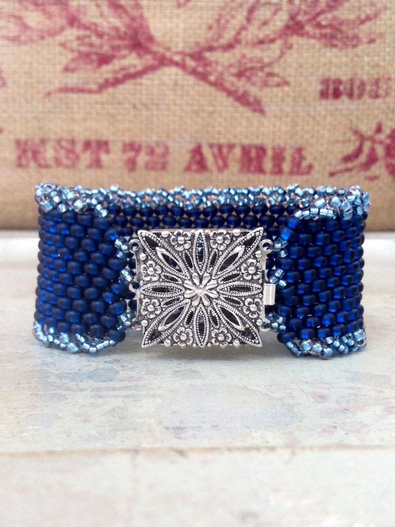 beaded cuff peyote stitch braceletczech glass denim blue