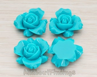 CBC200-01-TE // Teal Colored Narcissus Flower Flat Back Cabochon, 4 Pc