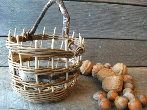 Tiny Wicker Basket With Handle : Small bucket basket with handle wicker bark and