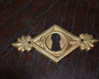 Antique French Brass Art Deco Keyhole Escutcheon Hardware