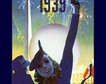 "8x10"" Cotton Canvas Print, New York World's Fair, 1939, Flushing Meadows, New York, Trylon, Perisphere"