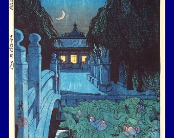 "8x10"" Cotton Canvas Print, Blue Moonlight, Black Cat, Bridge, Garden, Flora"