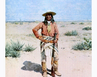 Alchisayue, Apache, 1894, Gouache, Henry Farney. native american art, western art, cowboy art, antique art prints, canvas art prints