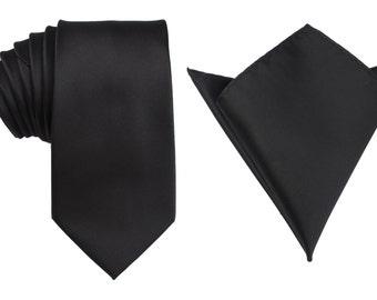 Matching Necktie + Pocket Square Combo New Designer Black Line (X526-T85+PS) Men's Handkerchief + Neck Tie 8.5cm Ties Neckties Wedding