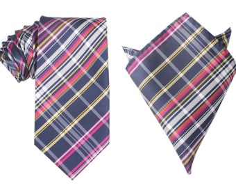 Matching Necktie + Pocket Square Combo Midnight Blue w/ Pink Stripes (X706-T85+PS) Men's Handkerchief + Neck Tie 8.5cm Ties Neckties Wedding